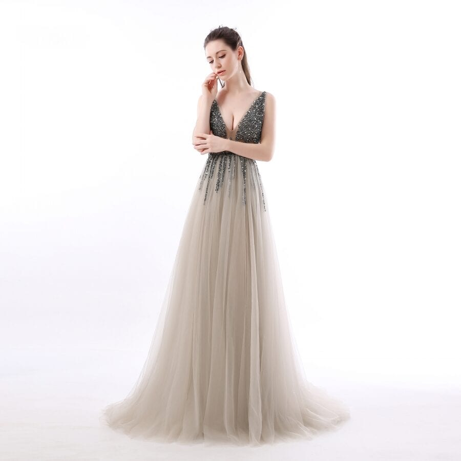 Side Split Deep V-neck Backless Beads Crystal Party Sleeveless Sweep Train Tulle Prom Dress