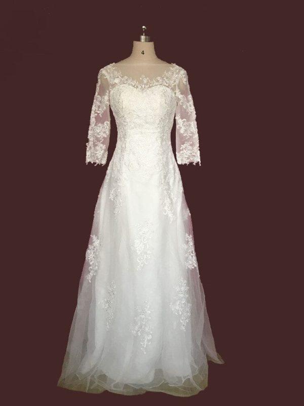 White/ivory Tulle Applique Three Quarter Sleeve Lace Wedding Dress