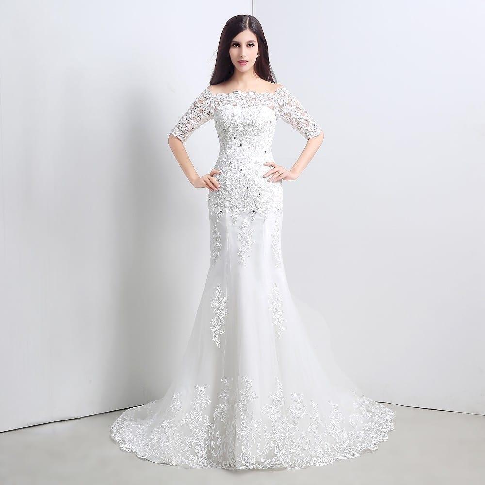Crystal Appliques Half Sleeve Lace Mermaid Wedding Dress