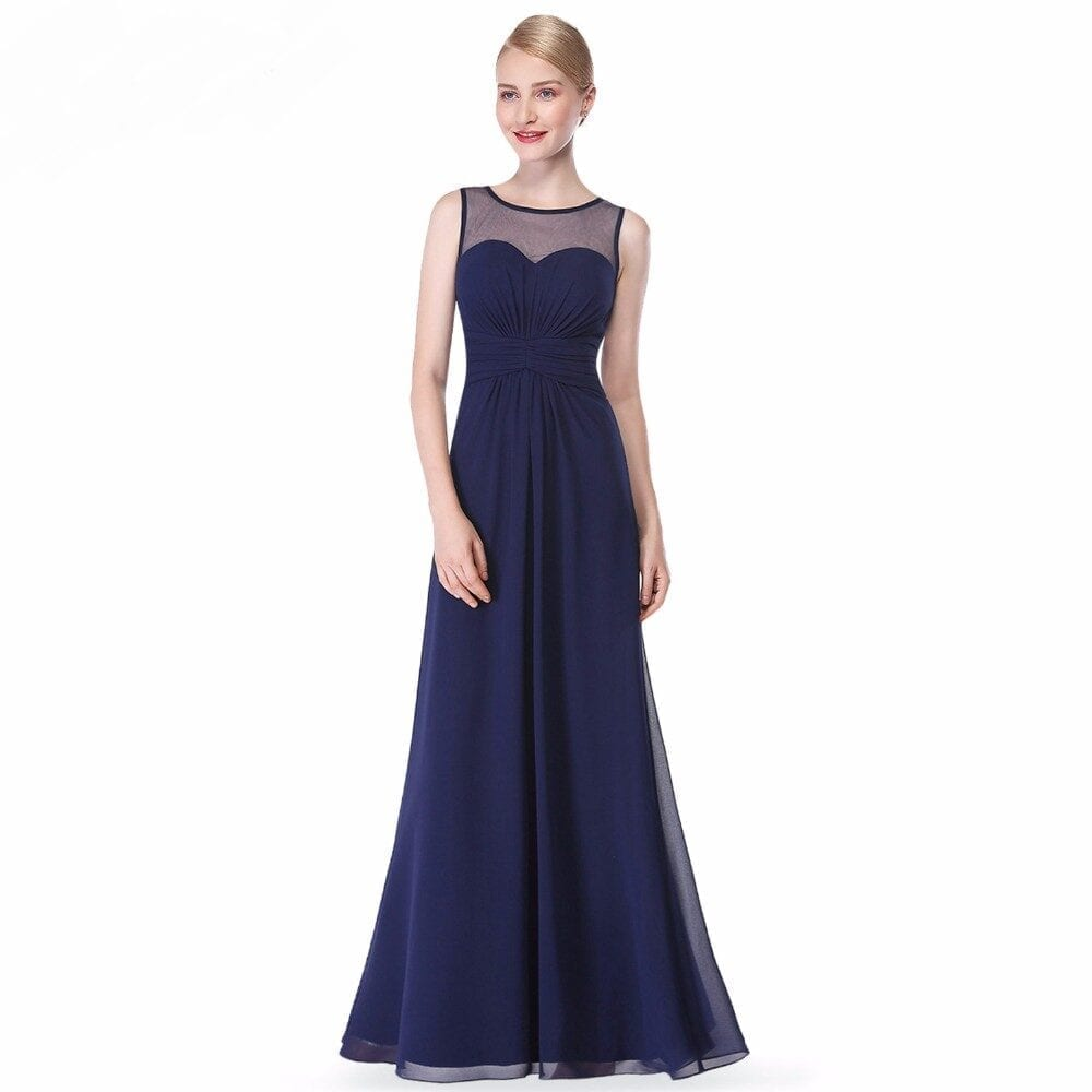 Elegant Sleeveless Long Chiffon A-line Bridesmaid Dress