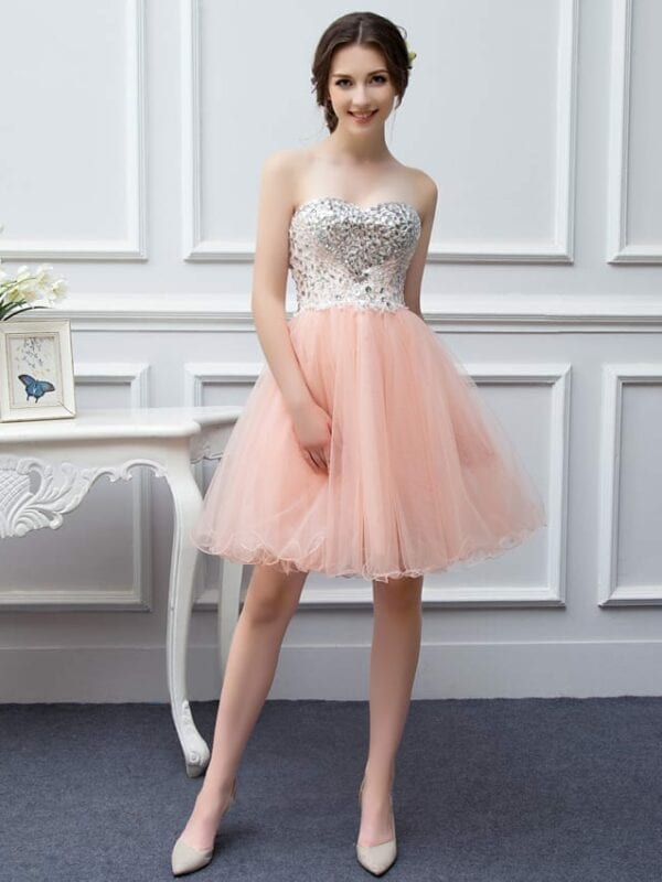 Sweetheart Tulle Beaded Short Coral-Peach Prom Dress - Uniqistic.com