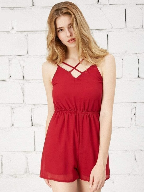 Cross Front Sleeveless Backless White Black Wine Red Jumpsuit