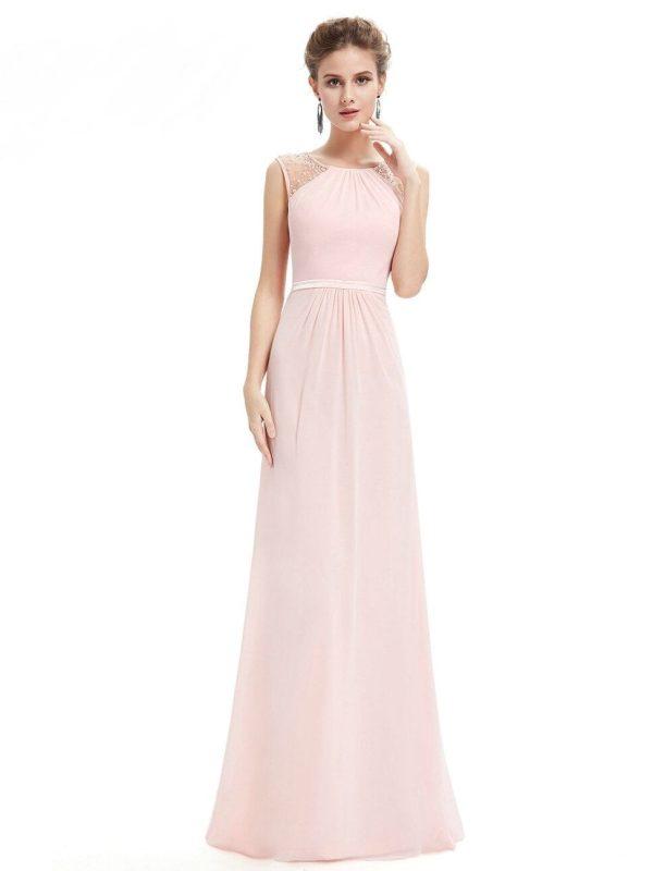 Elegant Chiffon Empire Sleeveless Lace Long Bridesmaid Dress