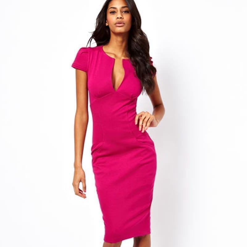 Charming Pockets Knee-length Bodycon Pencil Dress