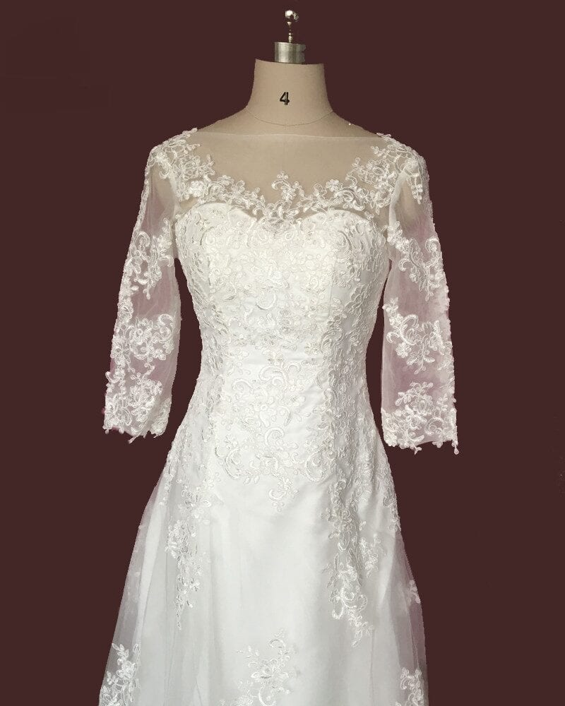 White/ivory Tulle Applique Three Quarter Sleeve Lace Wedding Dress