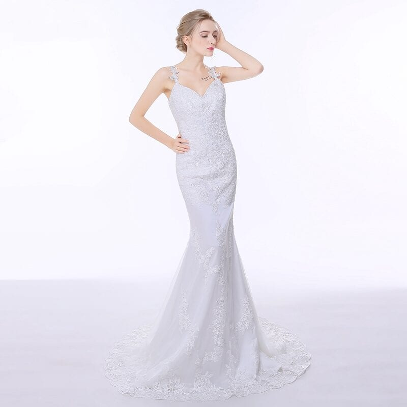 Charming Spaghetti Straps Beautiful Backless Lace Mermaid Wedding Dress
