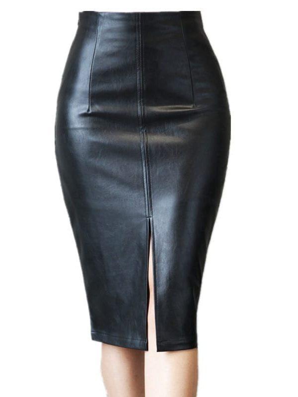 Elegant Black Bodycon Leather Split High Waisted Knee
