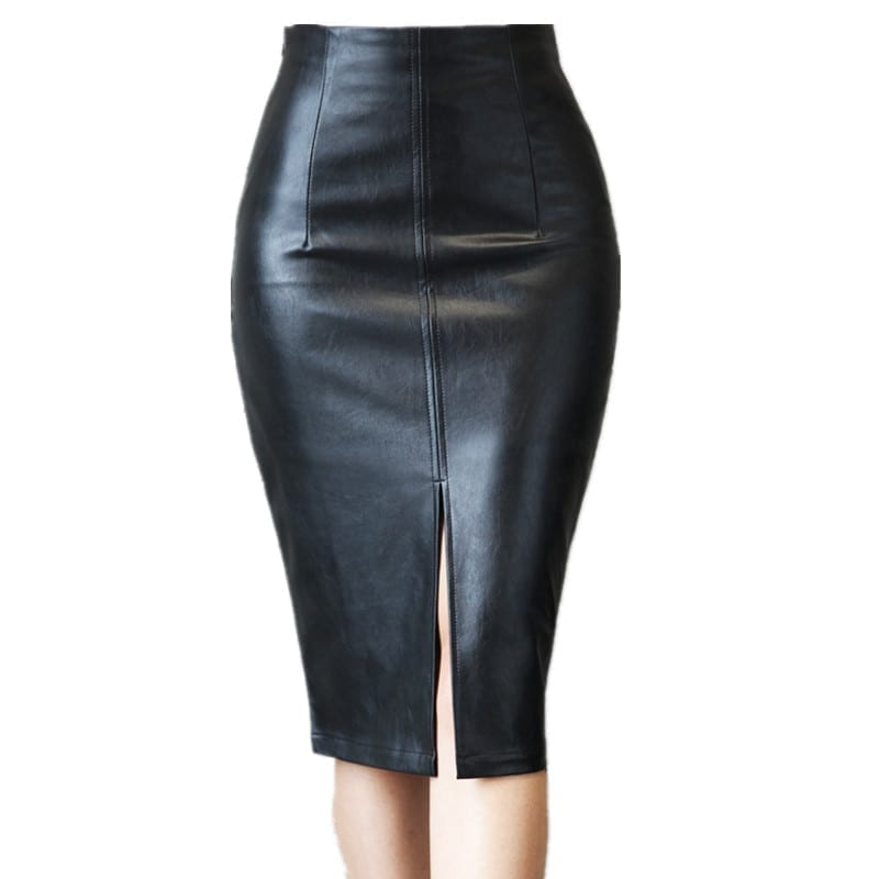 black bodycon leather split high waisted knee