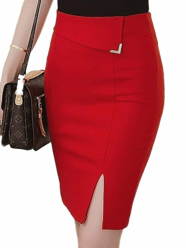 Black Light Blue Red Bodycon Pencil Skirt
