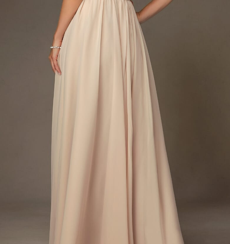 Champange Long A-line V-neck Spaghetti Straps Beading Sequin Bridesmaid Dress