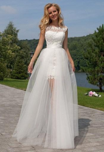 Short In Front Long Back Tulle Lace Beach Wedding Dress