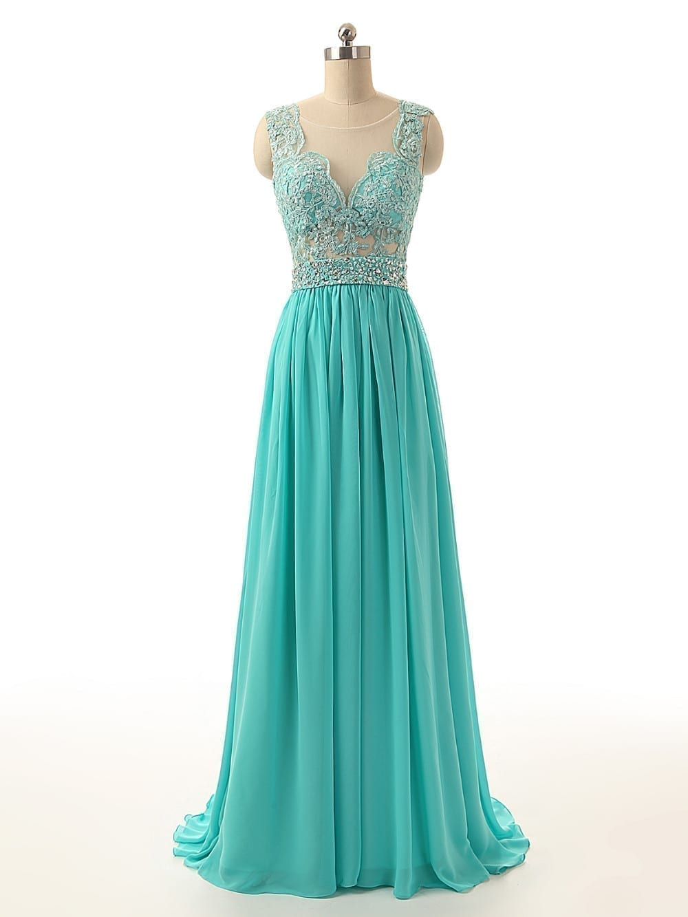Sheer Neck Back See Through Turquoise Long Bridesmaid Dress