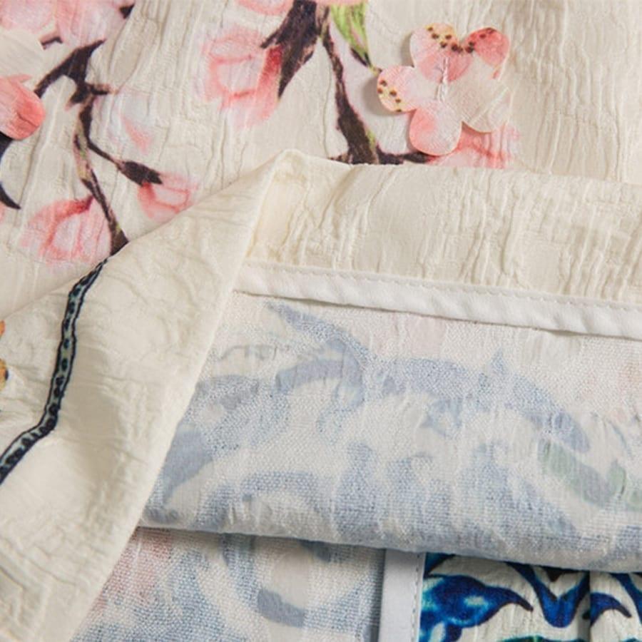White Flower Appliques Half Flare Sleeve Vintage Printed Straight Knee-length Dress