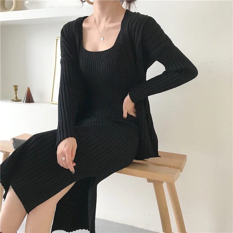 Khaki Long Sleeve Cardigan + Suspenders Sweater Vest Dress