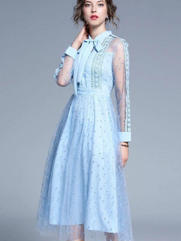 Blue Lace Patchwork Mid-calf A-line Elegant Office Dress