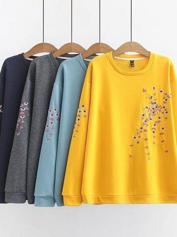 Floral Embroidery Long Sleeve O-neck Sweatshirt