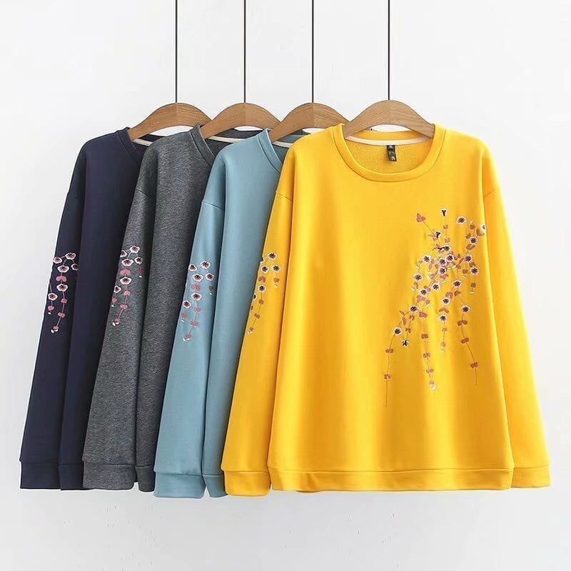 Floral Embroidery Long Sleeve O-neck Sweatshirt