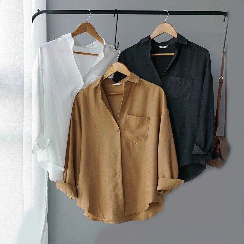 Turn Down Collar Long Sleeve Pocket Shirt