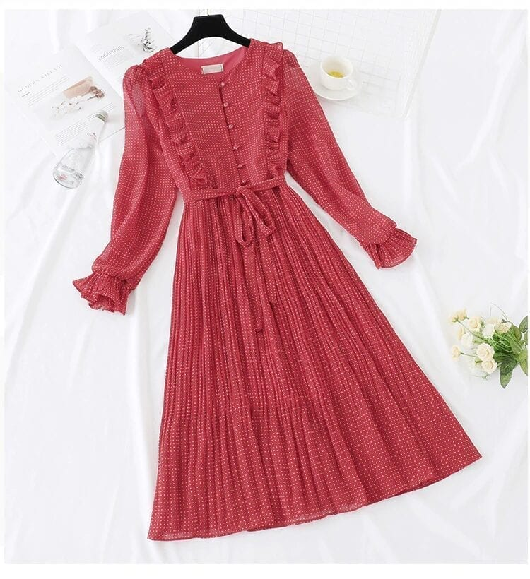 Vintage Retro Dot Ruffles Butterfly Sleeve Shirt Dress