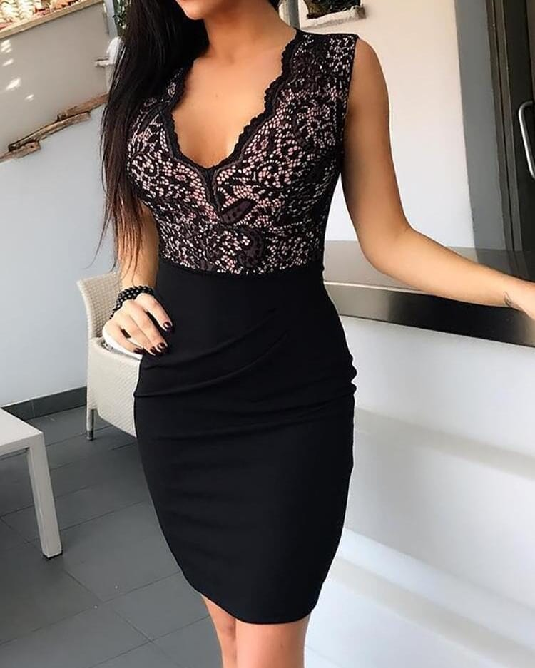 Black Sheath Sleeveless V-neck Bodycon Mini Dress