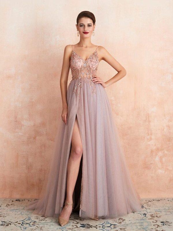 Elegant See Through A Line Split Tulle V Neck Spaghetti Strap Floor Length Evening Prom Dress