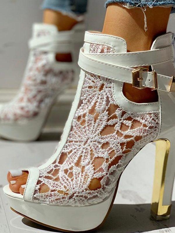 Elegant Lace Pierced White Black Platform Women Sandals Summer Boot