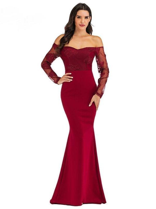 Elegant Lace Long Mermaid Evening Maxi Dress
