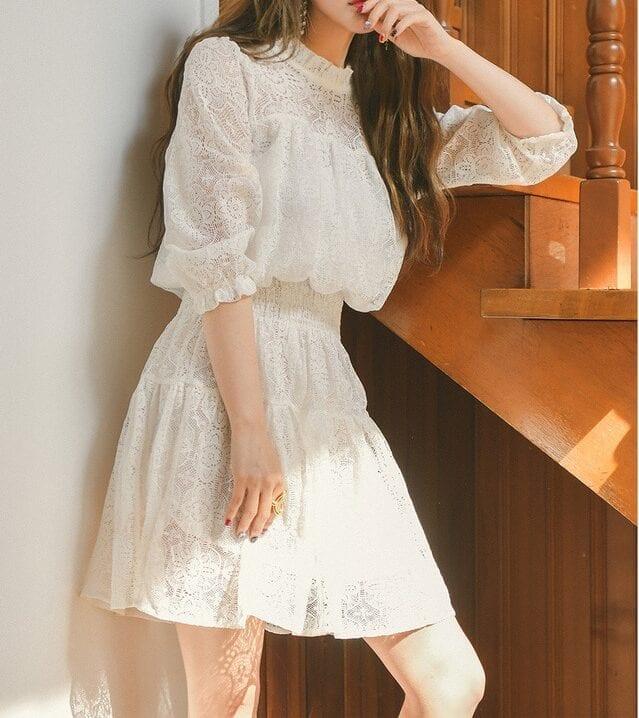 Elegant Black Milk White Summer Lace Mini Dress