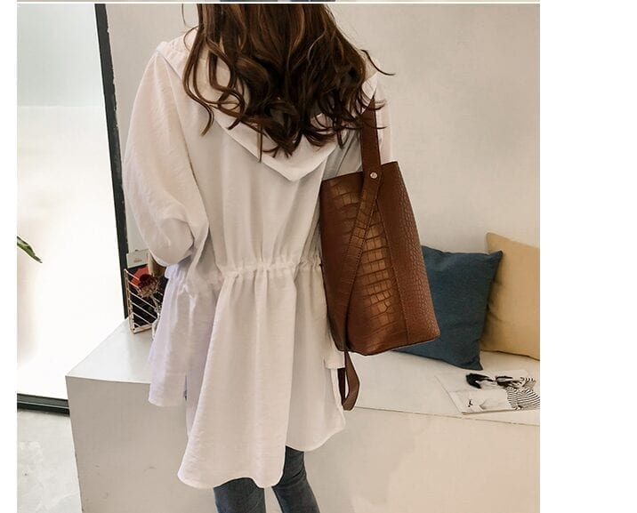 Loose Hooded Long Sleeve Women Trench Coat