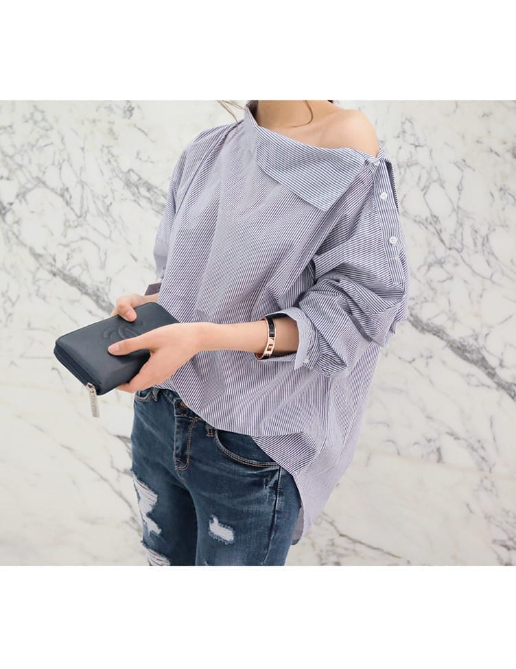Batwing Full Sleeve Striped Loose Blouse Shirt