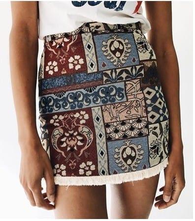 High Waist Chic Boho Fringe Bodycon Skirt 2