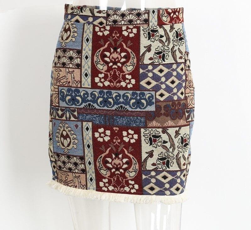 High Waist Chic Boho Fringe Bodycon Skirt 3