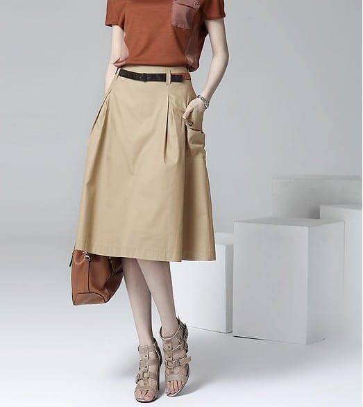 A-line Pockets Khaki And Black Button Midi Skirt
