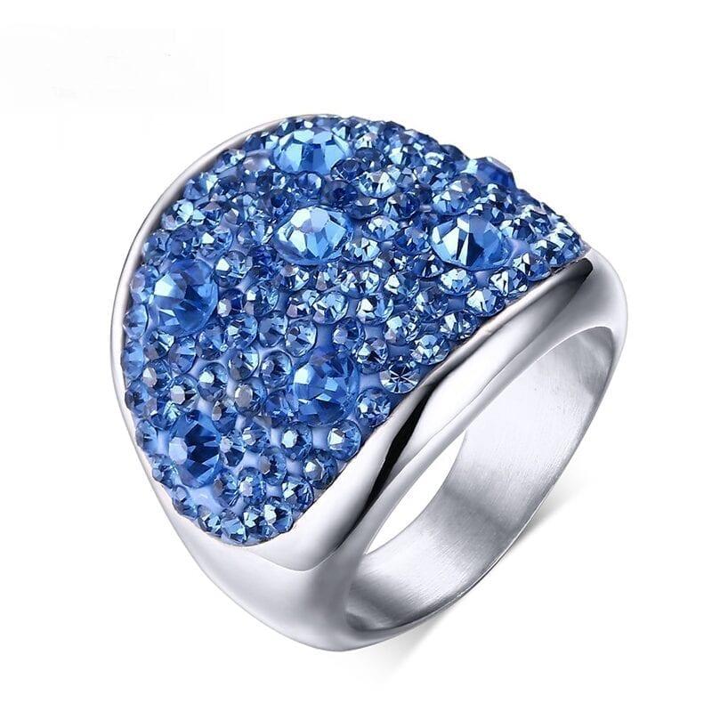 Crystal Rhinestone Stainless Steel Wedding Rings For Women