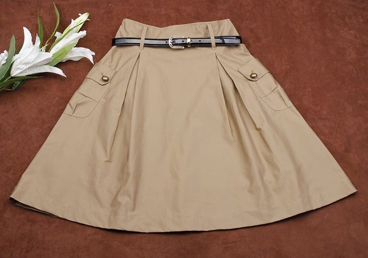 A-line Pockets Khaki And Black Button Midi Skirt