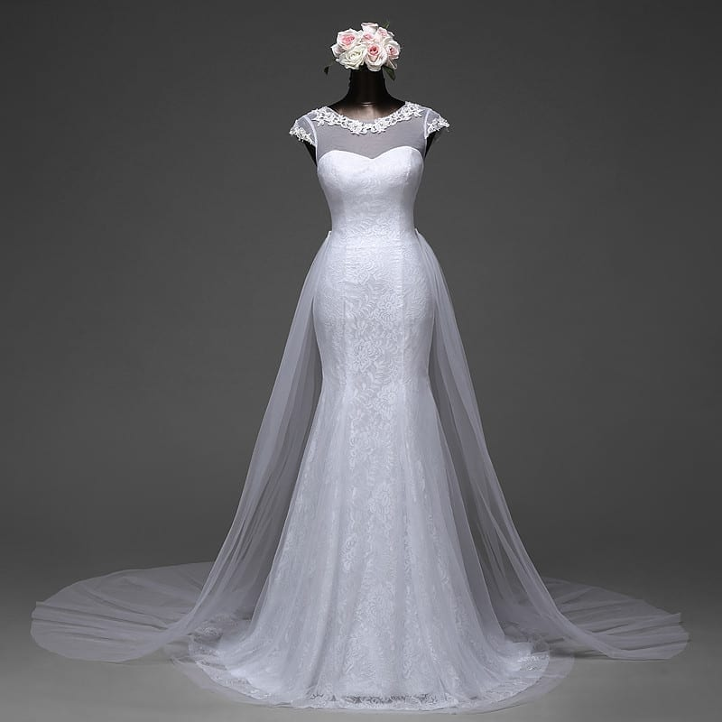 Elegant Mermaid Wedding Dress Removable Skirt With A Train And Lace Back