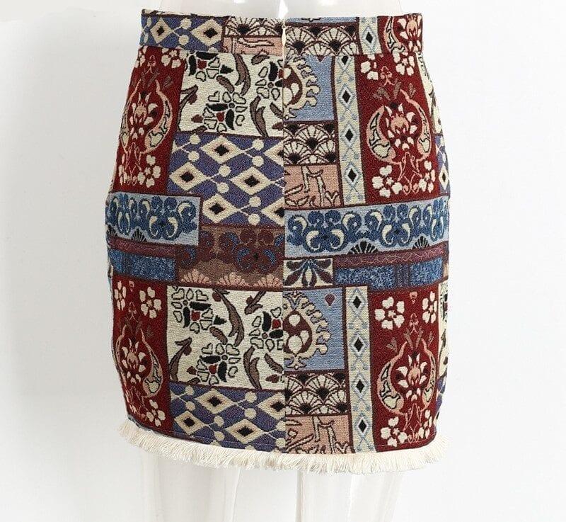 High Waist Chic Boho Fringe Bodycon Skirt 4