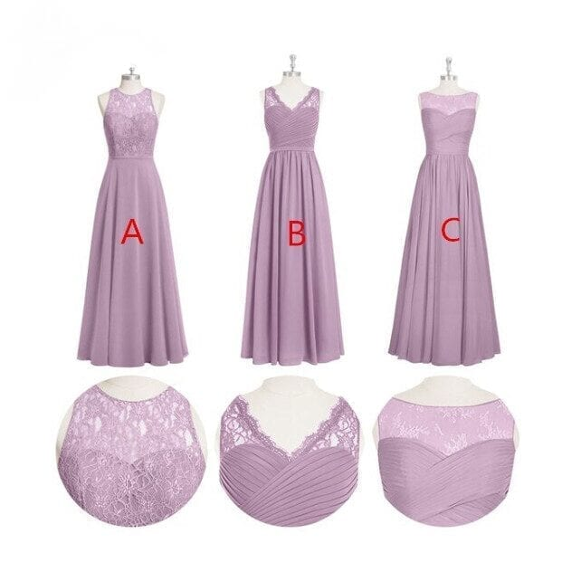 3 Styles Long Chiffon Lace A-line Bridesmaid Dress