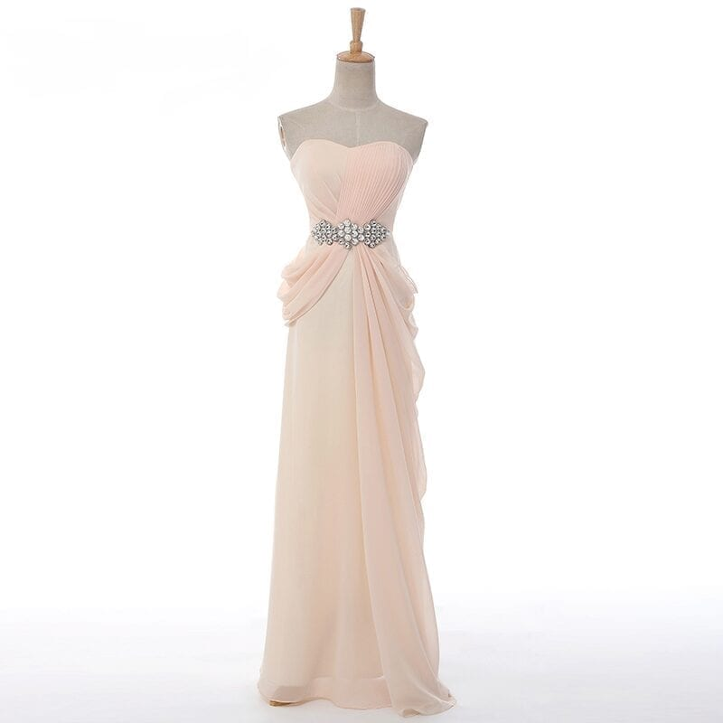 Strapless A-line Beading Crystal Long Evening Dress