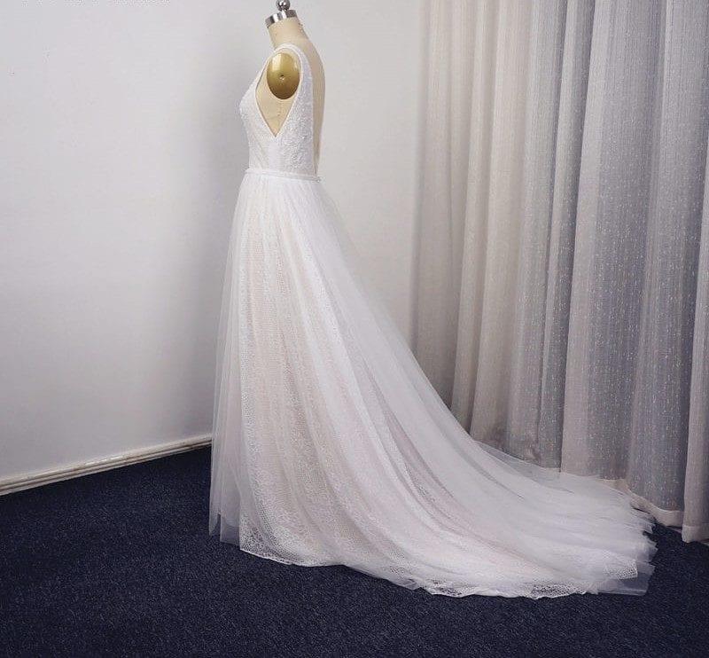 Deep V-neck Unique Lace Beaded A-line Boho Wedding Dress
