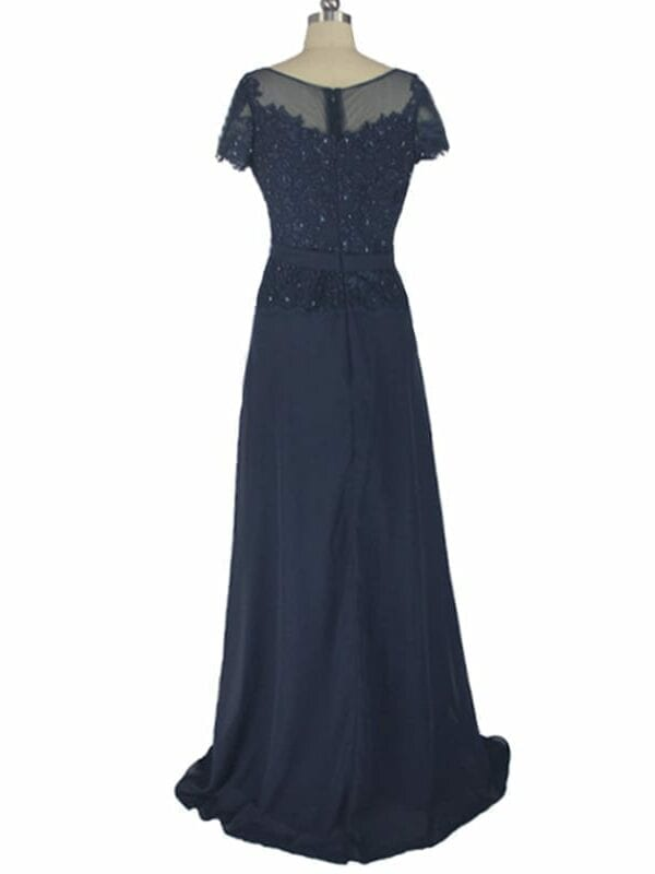 Short Sleeve A-line Cap Sleeve Lace Chiffon Navy Blue Long Evening Mother Of The Bride Dress