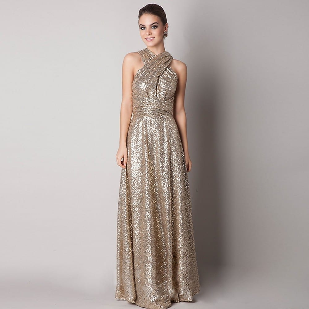 Long sequined maid of honor bridesmaid dress for Maid of honor wedding dresses