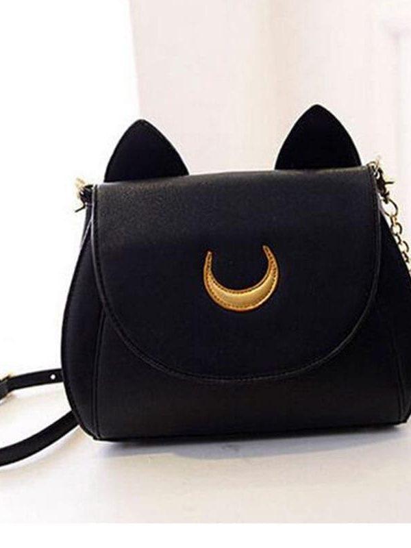 Moon Chain Cat Leather Messenger Crossbody Shoulder Bag Handbag
