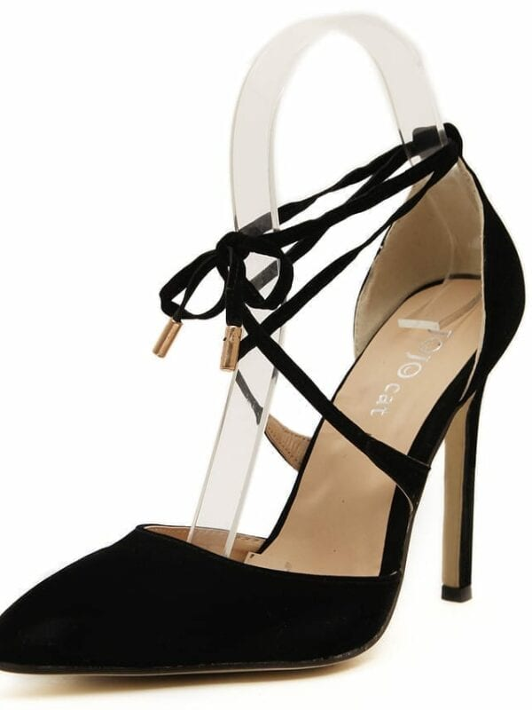 Lace Up High Heels Pointed Toe Bandage Stiletto Black Pumps