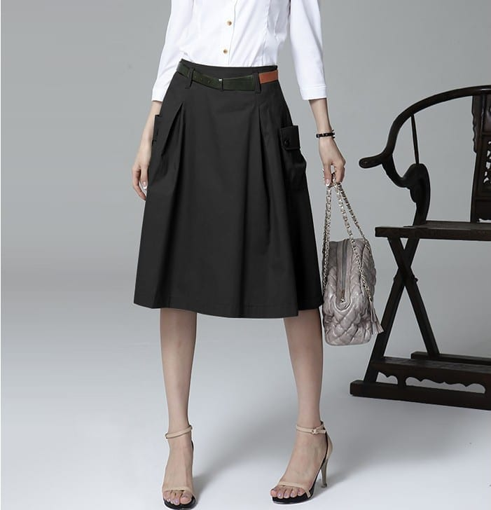 A-line Pockets Khaki and Black Button Midi Skirt - Uniqistic.com