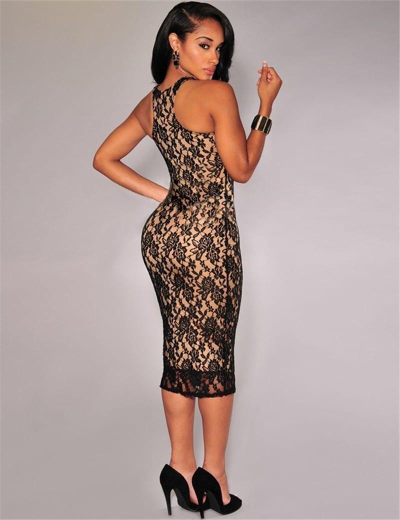 Sleeveless Lace O-neck Bodycon Dress