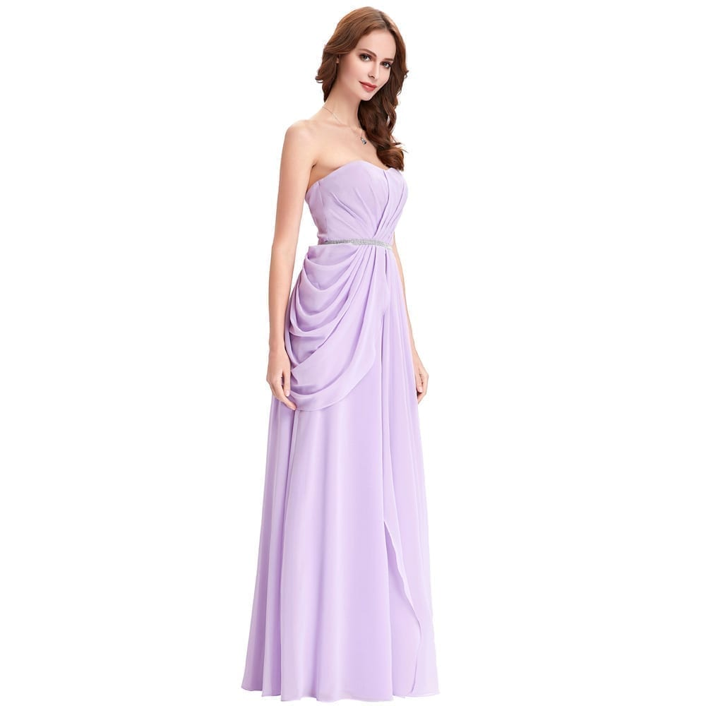 Purple lavender long chiffon floor length bridesmaid dress for Purple long dress for wedding