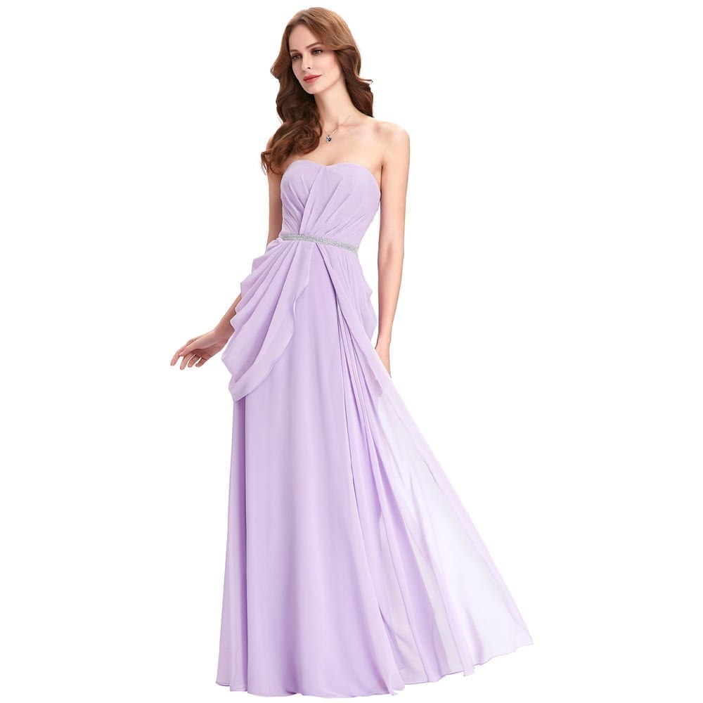 Purple lavender long chiffon floor length bridesmaid dress for Floor length gowns