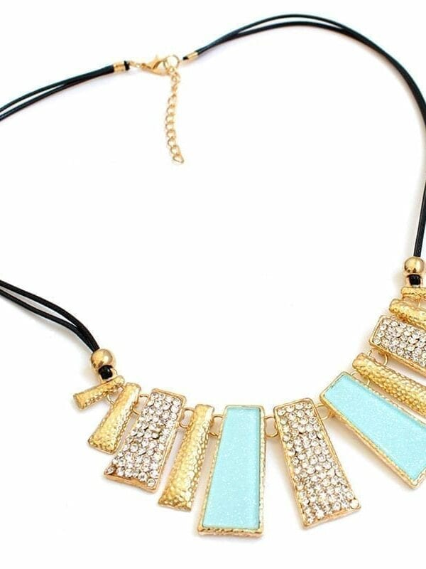 Beads Enamel Bib Leather Braided Rope Chain Necklace