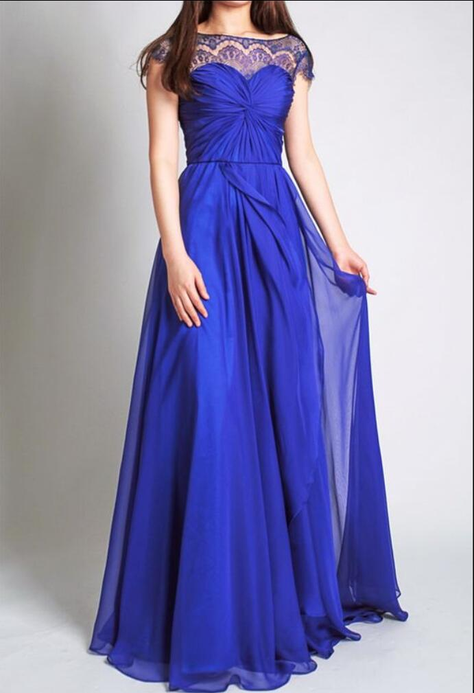 Royal blue with cap sleeves lace chiffon a line wedding for Blue wedding dress with sleeves